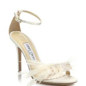 Jimmy choo ostrich vivien feather bow sandal